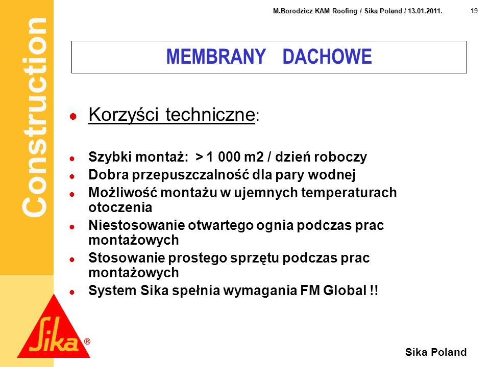 MEMBRANY DACHOWE Korzyści techniczne: