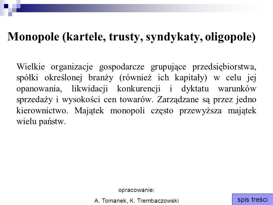 Monopole (kartele, trusty, syndykaty, oligopole)