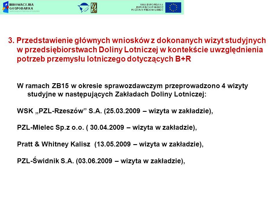3. Przedstawienie głównych wniosków z dokonanych wizyt studyjnych