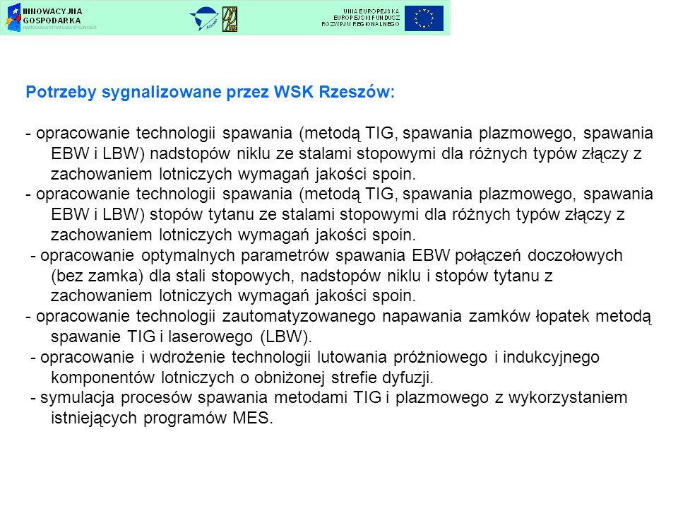 Potrzeby sygnalizowane przez WSK Rzeszów: