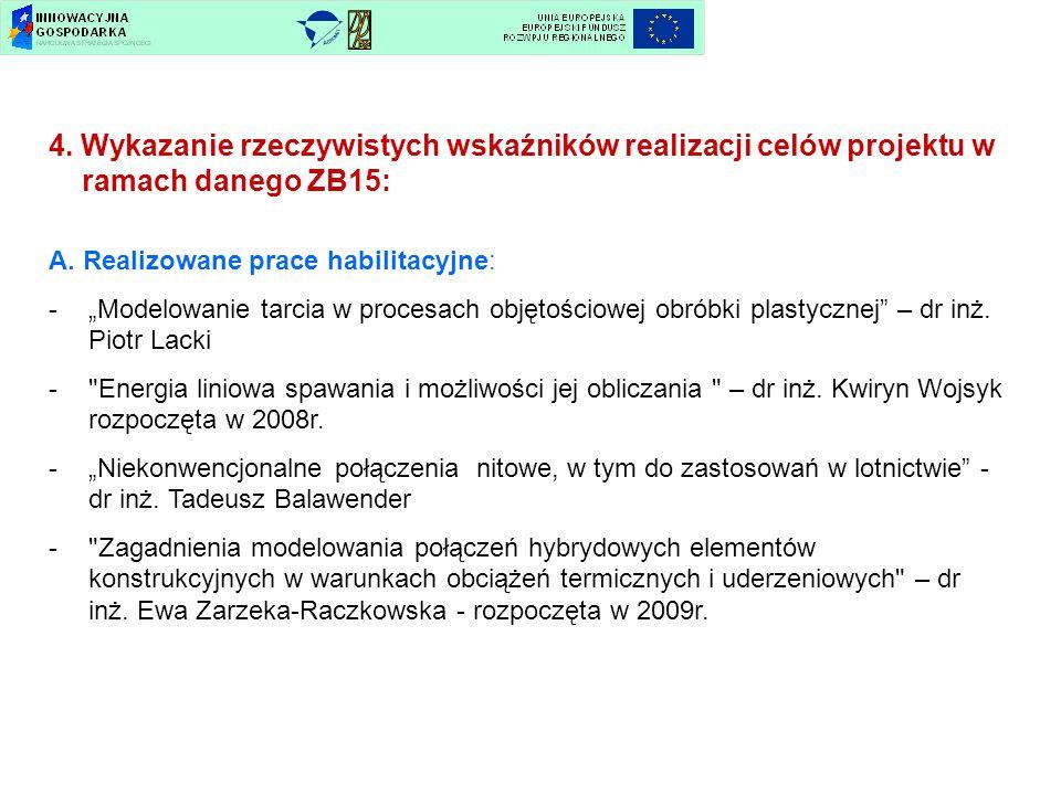 4. Wykazanie rzeczywistych wskaźników realizacji celów projektu w