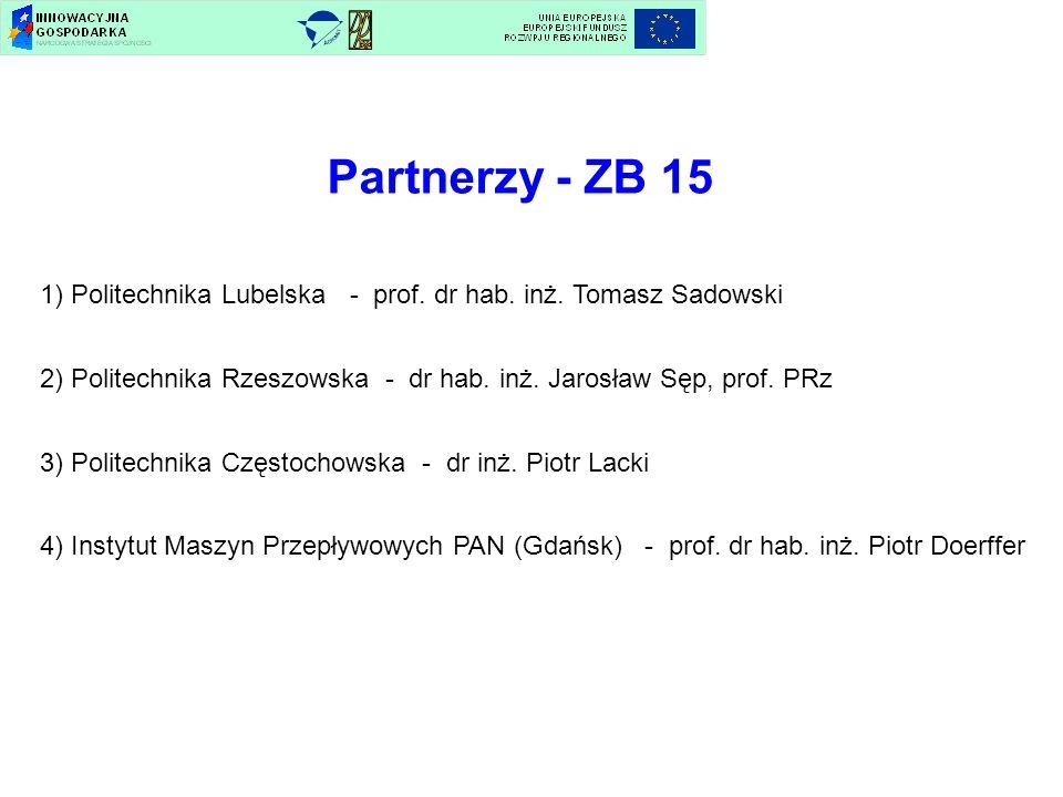 Partnerzy - ZB 15 1) Politechnika Lubelska - prof. dr hab. inż. Tomasz Sadowski.