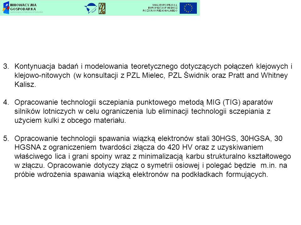 Kontynuacja badań i modelowania teoretycznego dotyczących połączeń klejowych i klejowo-nitowych (w konsultacji z PZL Mielec, PZL Świdnik oraz Pratt and Whitney Kalisz.