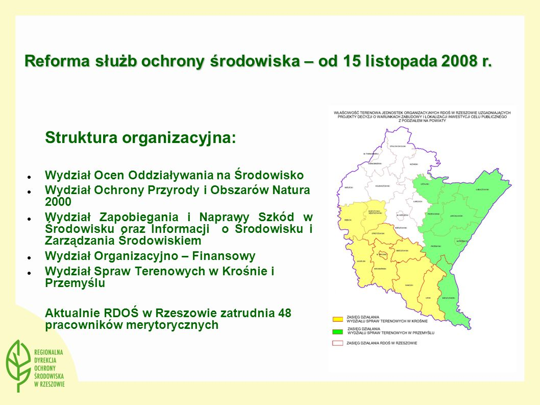 Reforma służb ochrony środowiska – od 15 listopada 2008 r.