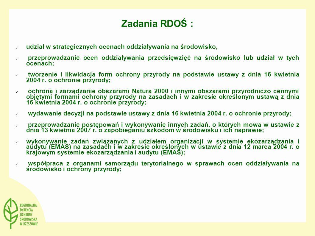 Zadania RDOŚ : udział w strategicznych ocenach oddziaływania na środowisko,