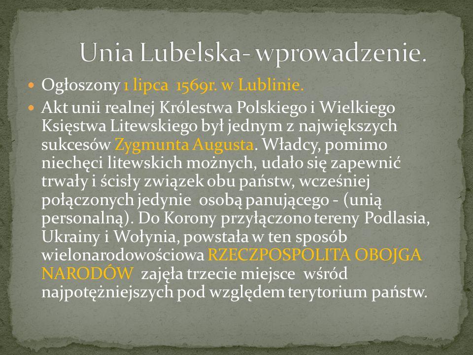 Unia Lubelska- wprowadzenie.