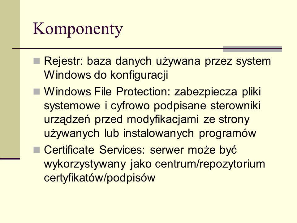 Komponenty Rejestr: baza danych używana przez system Windows do konfiguracji.