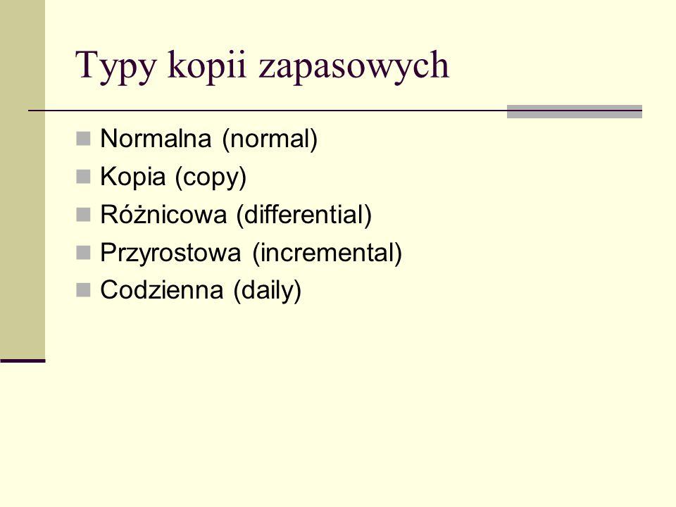 Typy kopii zapasowych Normalna (normal) Kopia (copy)