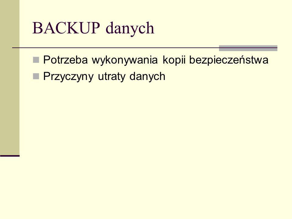 BACKUP danych Potrzeba wykonywania kopii bezpieczeństwa