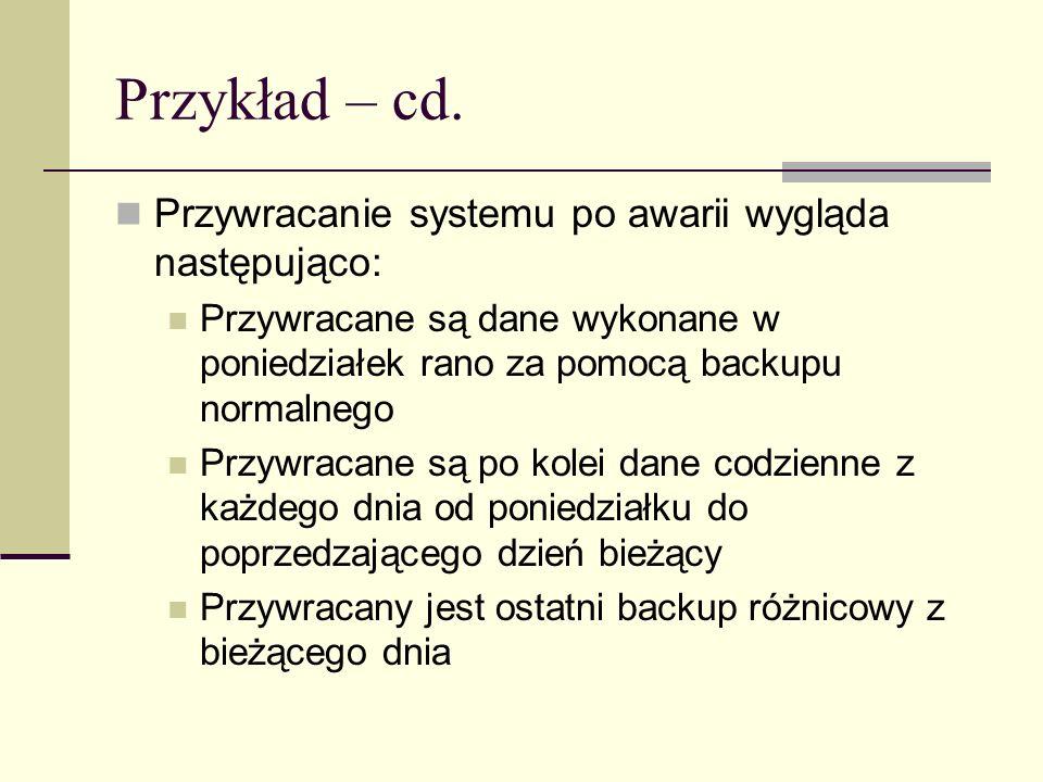 Przykład – cd. Przywracanie systemu po awarii wygląda następująco: