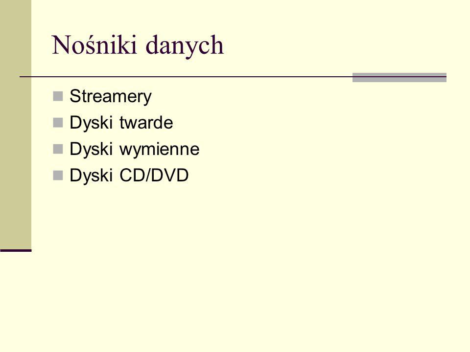 Nośniki danych Streamery Dyski twarde Dyski wymienne Dyski CD/DVD