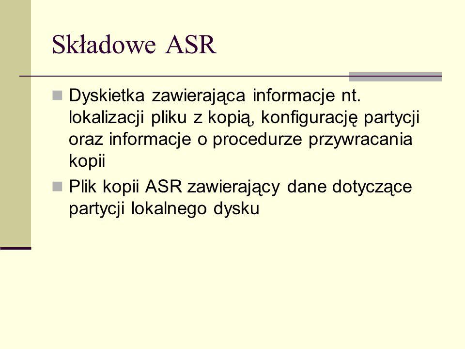 Składowe ASR Dyskietka zawierająca informacje nt. lokalizacji pliku z kopią, konfigurację partycji oraz informacje o procedurze przywracania kopii.