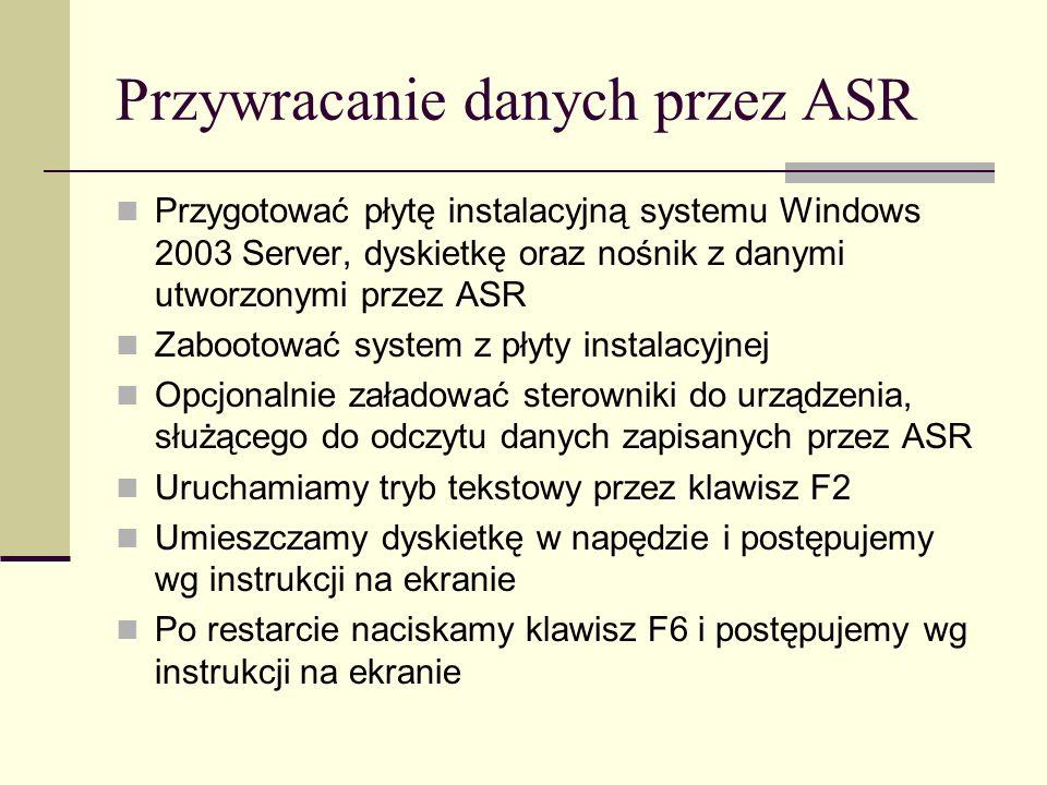 Przywracanie danych przez ASR