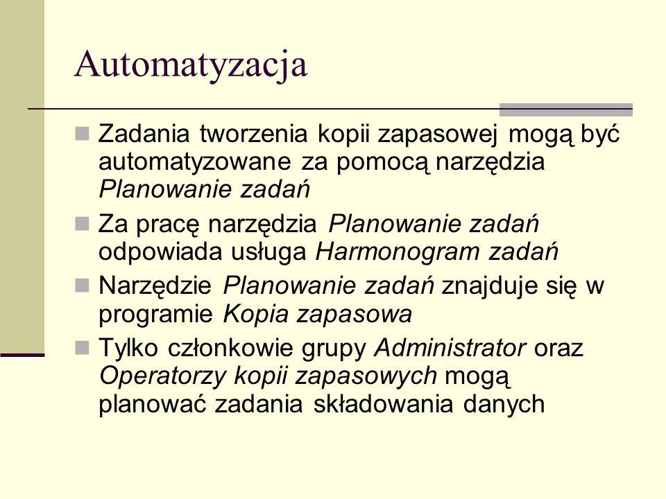 Automatyzacja Zadania tworzenia kopii zapasowej mogą być automatyzowane za pomocą narzędzia Planowanie zadań.