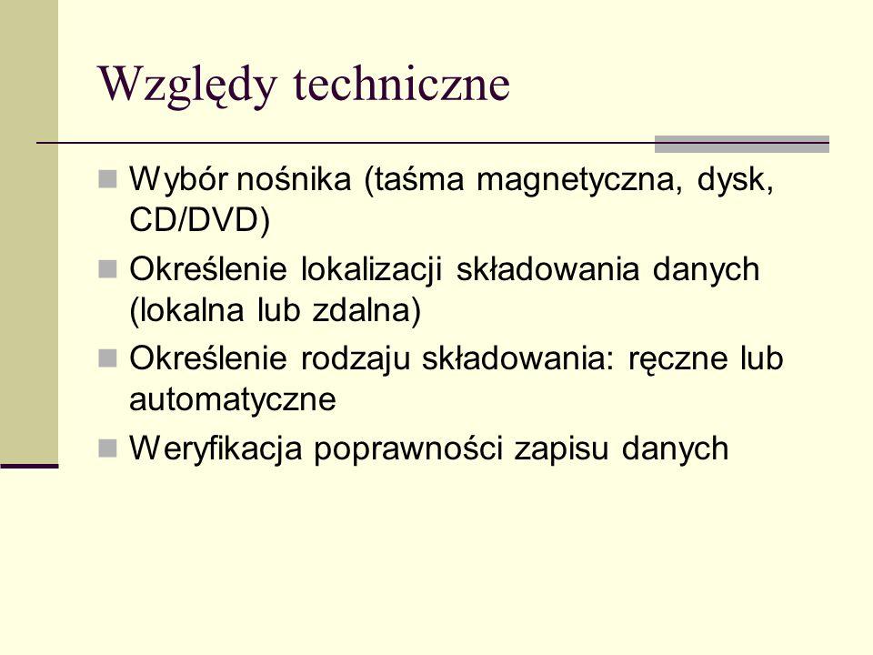 Względy techniczne Wybór nośnika (taśma magnetyczna, dysk, CD/DVD)