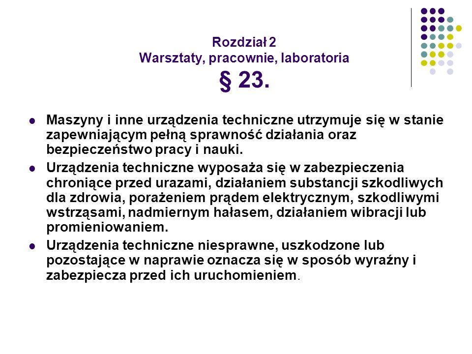 Rozdział 2 Warsztaty, pracownie, laboratoria § 23.