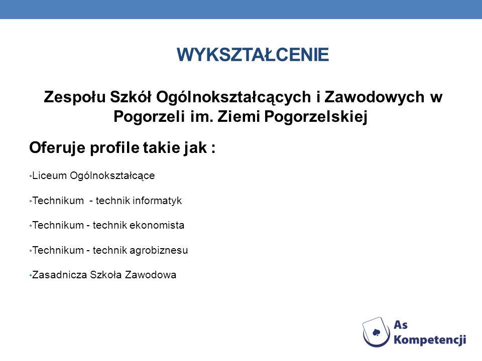 wykształcenie Zespołu Szkół Ogólnokształcących i Zawodowych w Pogorzeli im. Ziemi Pogorzelskiej. Oferuje profile takie jak :