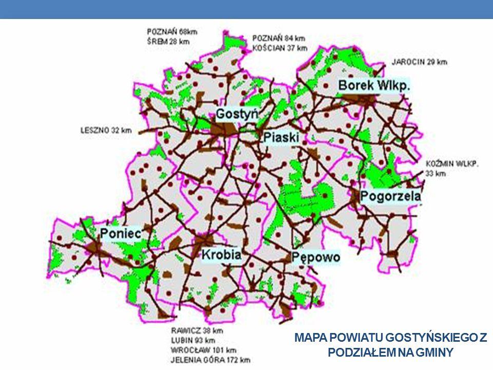 Mapa powiatu gostyńskiego z podziałem na gminy
