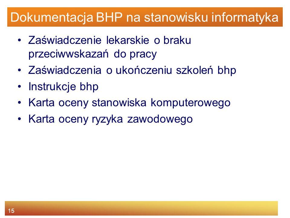 Dokumentacja BHP na stanowisku informatyka