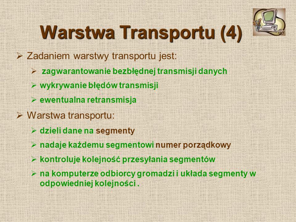 Warstwa Transportu (4) Zadaniem warstwy transportu jest: