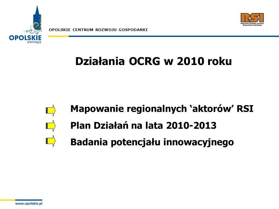 Działania OCRG w 2010 roku Mapowanie regionalnych 'aktorów' RSI