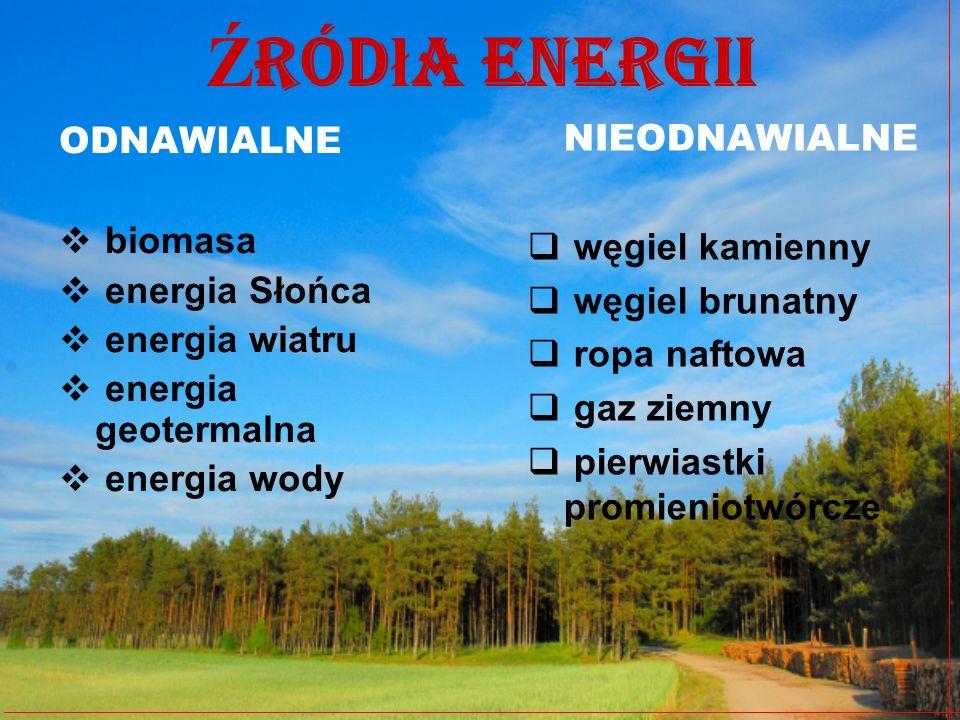 Źródła energii NIEODNAWIALNE ODNAWIALNE węgiel kamienny biomasa