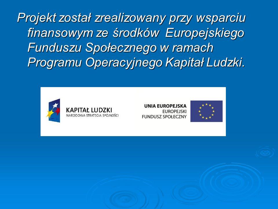 Projekt został zrealizowany przy wsparciu finansowym ze środków Europejskiego Funduszu Społecznego w ramach Programu Operacyjnego Kapitał Ludzki.