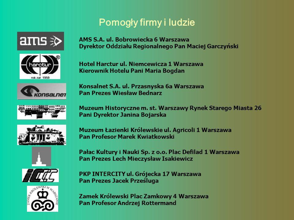 Pomogły firmy i ludzie AMS S.A. ul. Bobrowiecka 6 Warszawa Dyrektor Oddziału Regionalnego Pan Maciej Garczyński.