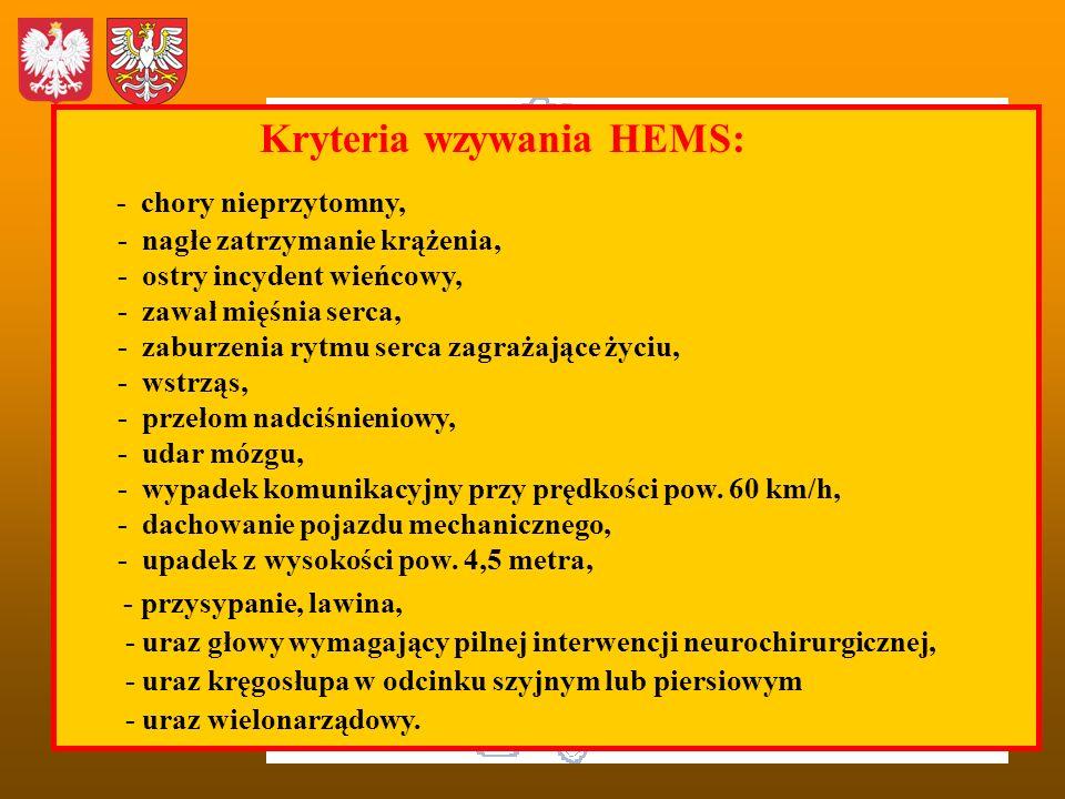 Kryteria wzywania HEMS: - chory nieprzytomny,