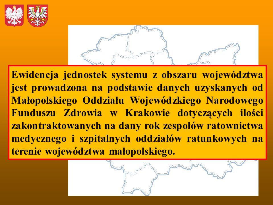 Ewidencja jednostek systemu z obszaru województwa jest prowadzona na podstawie danych uzyskanych od Małopolskiego Oddziału Wojewódzkiego Narodowego Funduszu Zdrowia w Krakowie dotyczących ilości zakontraktowanych na dany rok zespołów ratownictwa medycznego i szpitalnych oddziałów ratunkowych na terenie województwa małopolskiego.