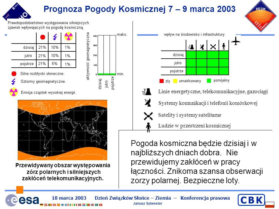 Prognoza Pogody Kosmicznej 7 – 9 marca 2003