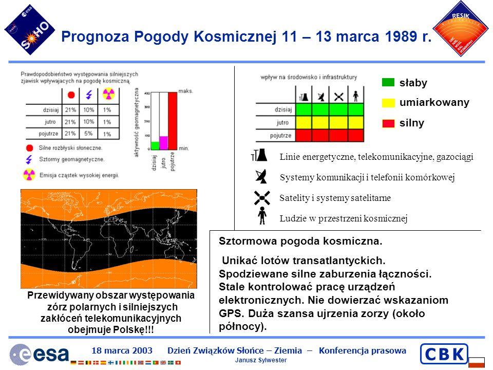 Prognoza Pogody Kosmicznej 11 – 13 marca 1989 r.