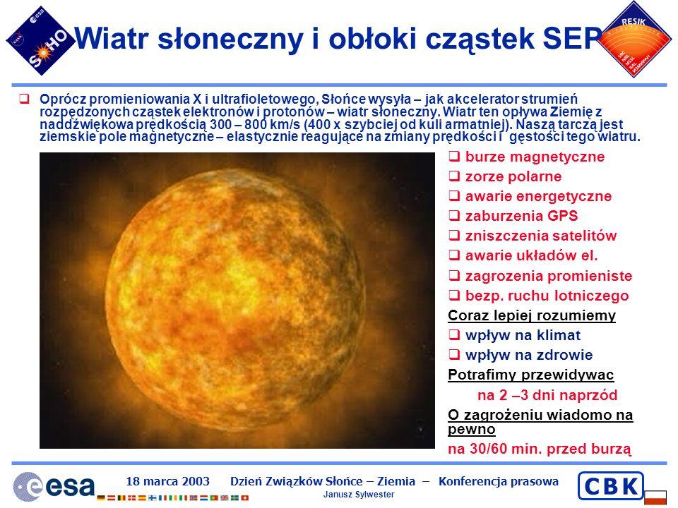 Wiatr słoneczny i obłoki cząstek SEP