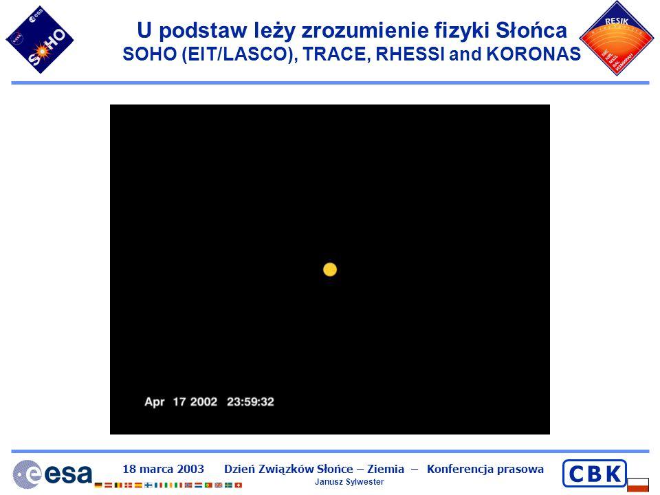 U podstaw leży zrozumienie fizyki Słońca SOHO (EIT/LASCO), TRACE, RHESSI and KORONAS
