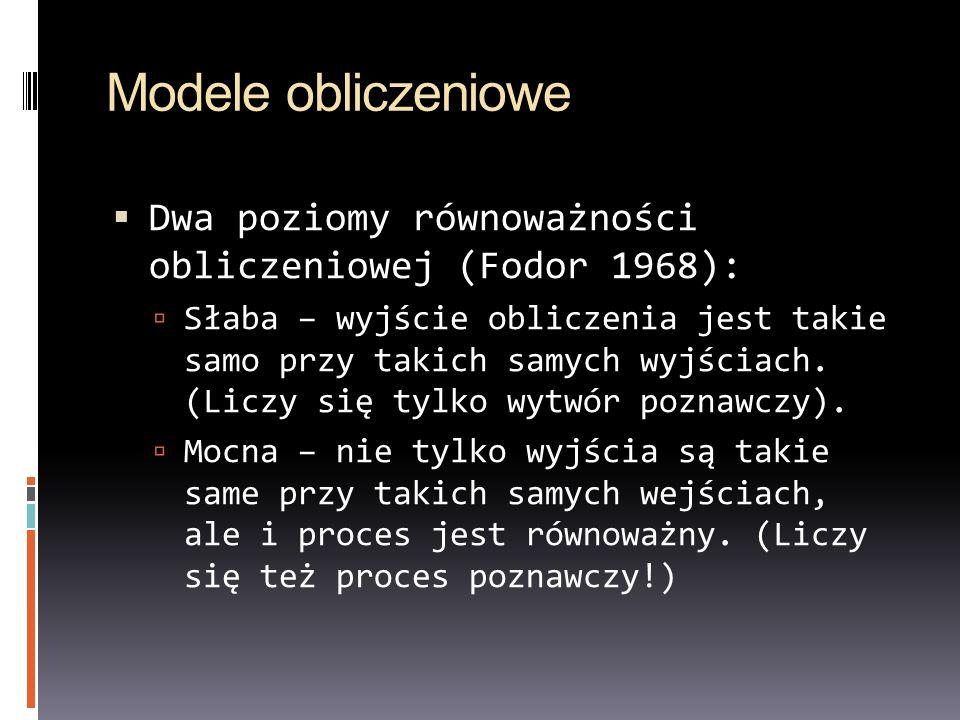 Modele obliczeniowe Dwa poziomy równoważności obliczeniowej (Fodor 1968):
