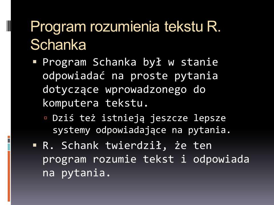 Program rozumienia tekstu R. Schanka