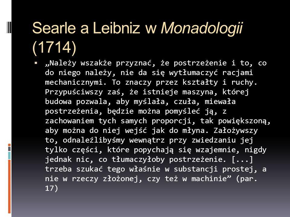 Searle a Leibniz w Monadologii (1714)