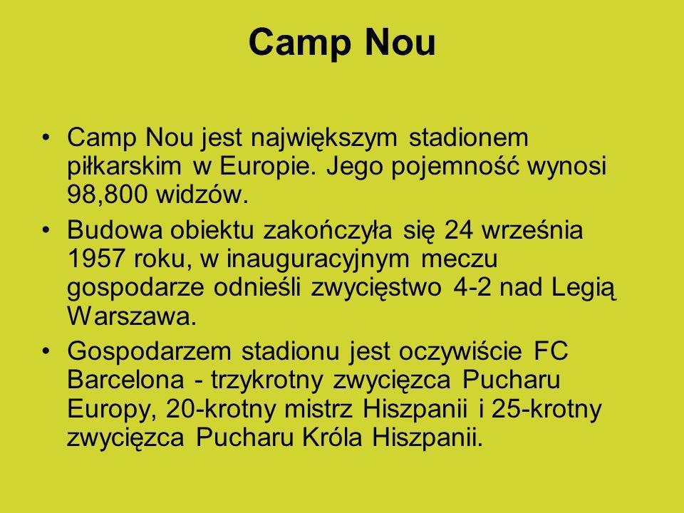 Camp Nou Camp Nou jest największym stadionem piłkarskim w Europie. Jego pojemność wynosi 98,800 widzów.