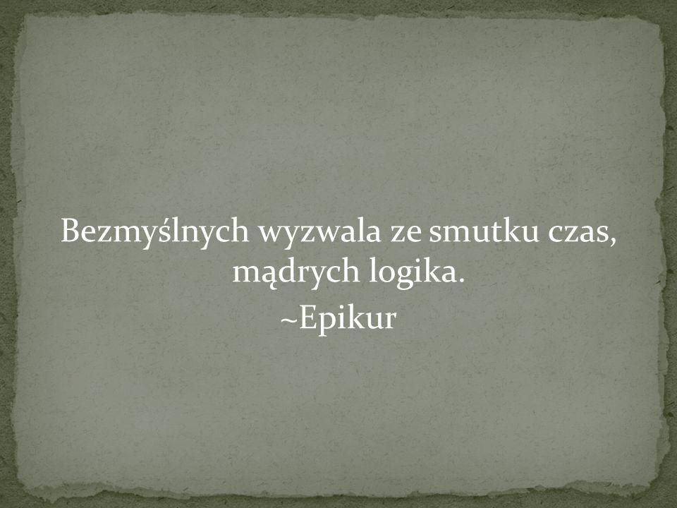 Bezmyślnych wyzwala ze smutku czas, mądrych logika. ~Epikur