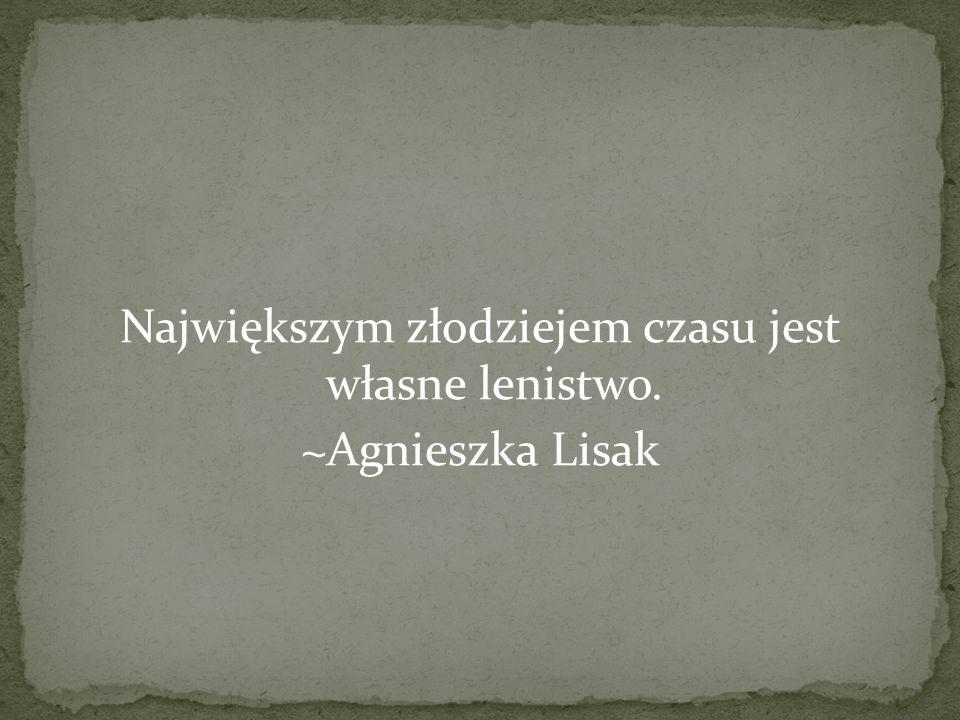 Największym złodziejem czasu jest własne lenistwo. ~Agnieszka Lisak