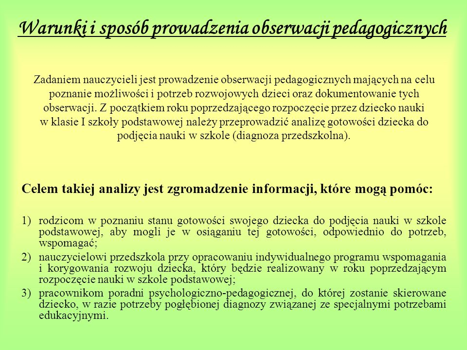 Warunki i sposób prowadzenia obserwacji pedagogicznych