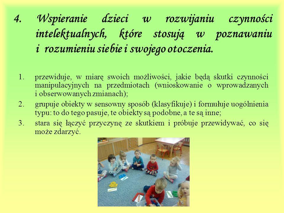 4. Wspieranie dzieci w rozwijaniu czynności intelektualnych, które stosują w poznawaniu i rozumieniu siebie i swojego otoczenia.