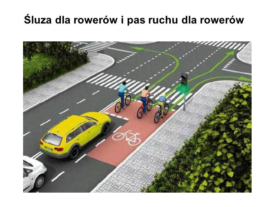 Śluza dla rowerów i pas ruchu dla rowerów