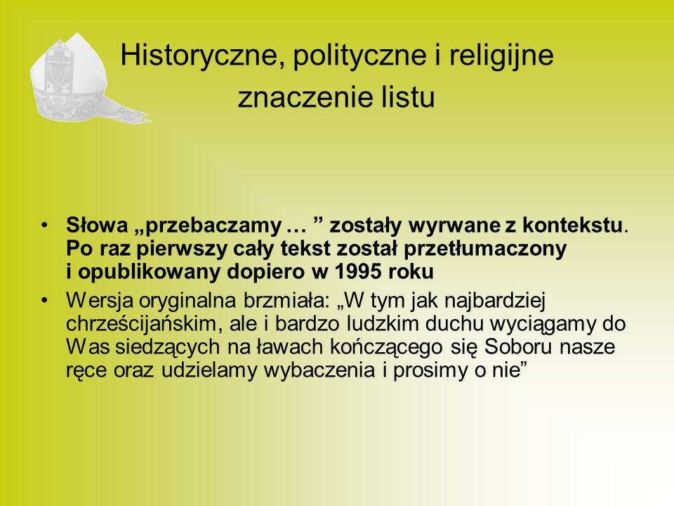 Historyczne, polityczne i religijne znaczenie listu