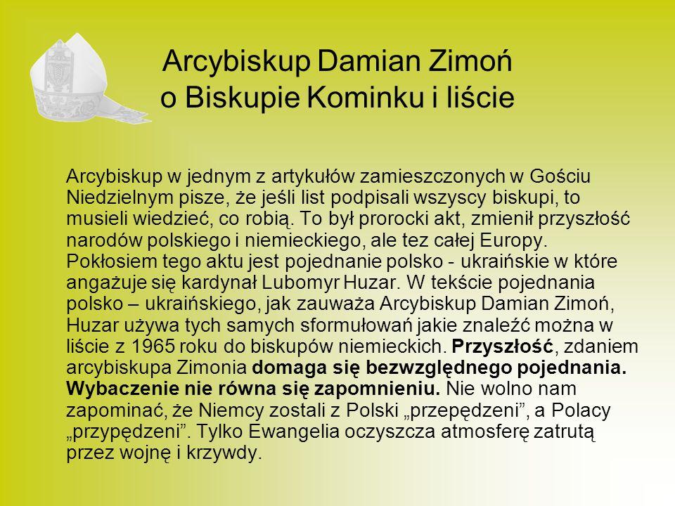 Arcybiskup Damian Zimoń o Biskupie Kominku i liście
