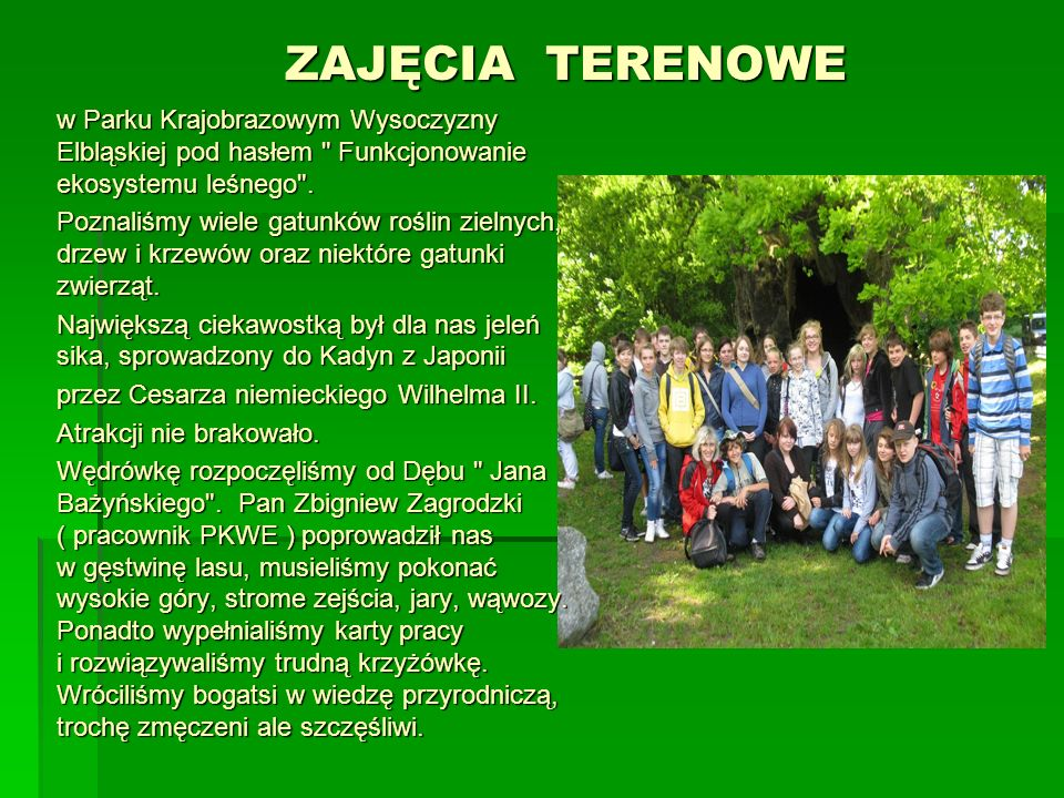 ZAJĘCIA TERENOWE w Parku Krajobrazowym Wysoczyzny Elbląskiej pod hasłem Funkcjonowanie ekosystemu leśnego .