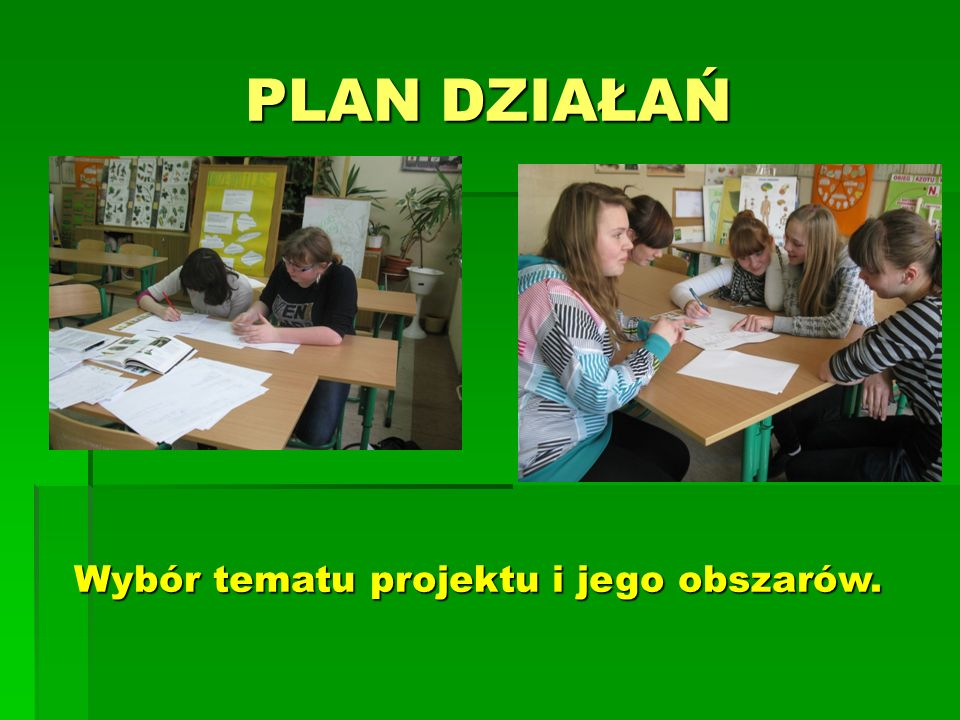 PLAN DZIAŁAŃ Wybór tematu projektu i jego obszarów.