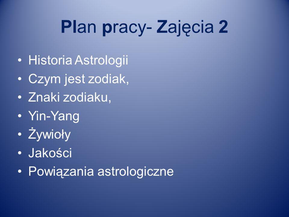 Plan pracy- Zajęcia 2 Historia Astrologii Czym jest zodiak,