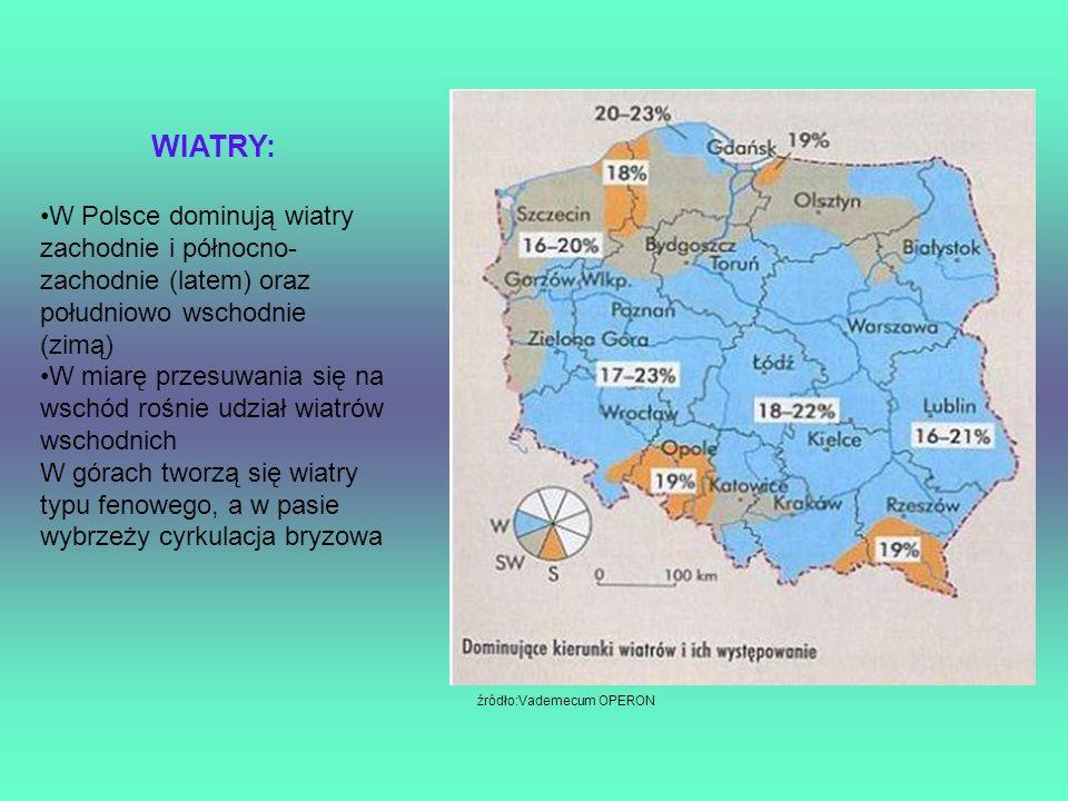WIATRY:W Polsce dominują wiatry zachodnie i północno-zachodnie (latem) oraz południowo wschodnie (zimą)
