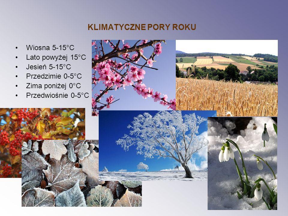 KLIMATYCZNE PORY ROKU Wiosna 5-15°C Lato powyżej 15°C Jesień 5-15°C